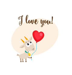 i love you card with goat holding heart shaped vector image