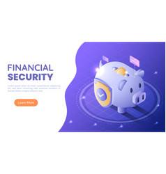 isometric web banner piggy bank full money vector image