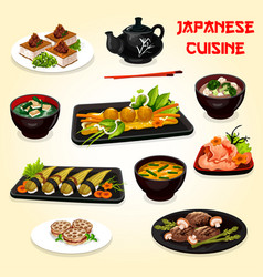 Japanese cuisine sushi meat and seafood dishes vector