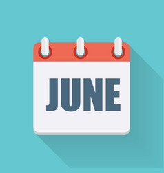 June Dates Flat Icon with Long Shadow vector image