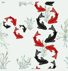 Koi fish pond seamless pattern of asian art vector