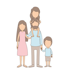 Light color caricature faceless family parents vector