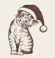 little cat kitten with christmas santa hat vector image