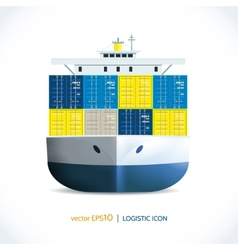 Logistic icon container ship vector