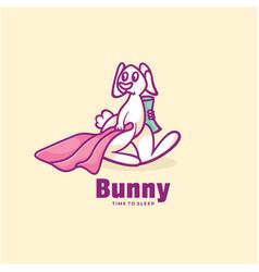 logo bunny sleeping time simple mascot style vector image