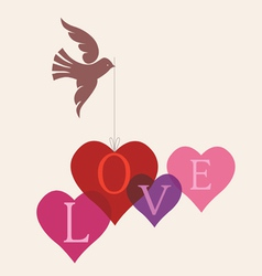 love message card with dove vector image