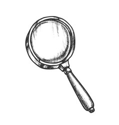 magnifying glass lens equipment monochrome vector image