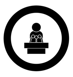 Man speaking from the rostrum icon black color in vector