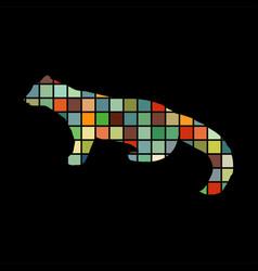marten wildlife color silhouette animal vector image