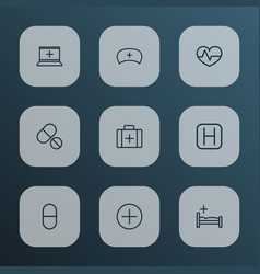 medicine icons line style set with nurse cap sign vector image