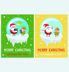 merry christmas and happy new year two posters vector image