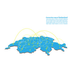 Modern of switzerland map connections network vector