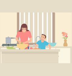 mother doing activity in kitchen with her son vector image