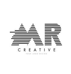 Mr m r zebra letter logo design with black and vector