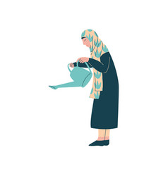 Muslim woman in hijab with watering can modern vector