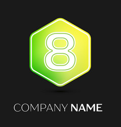 number eight symbol on colorful hexagonal vector image