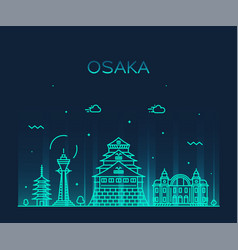 osaka skyline japan trendy city linear vector image