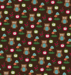 owls apples and mushrooms pattern vector image