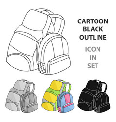 pair of travel backpacks icon in cartoon style vector image vector image