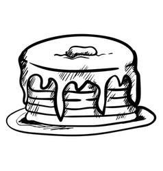 pancake drawing on white background vector image