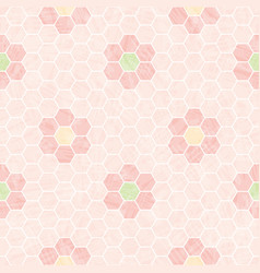Pastel pink and white honeycomb design with mosaic vector