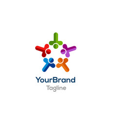 People colorful logo template vector