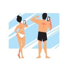 People make extraordinary Selfie vector image