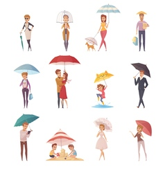 People Standing Under Umbrella vector