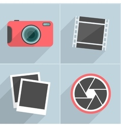 Photo icons with long shadow vector image