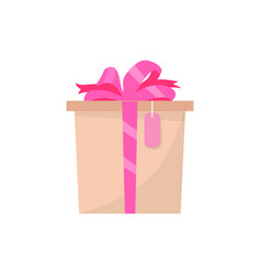 pink gift box side view present in wrapping vector image