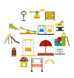 playground flat icons set vector image