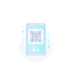 Qr code scan in phone icon vector