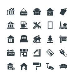 Real Estate Cool Icons 3 vector image