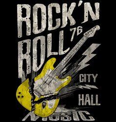 rockn roll poster guitar graphic design tee art vector image