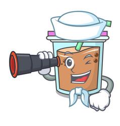 Sailor with binocular bubble tea mascot cartoon vector