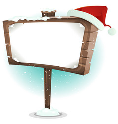 Santa claus hat on wood sign vector
