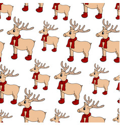 seamless hand drawn pattern with new year deer vector image