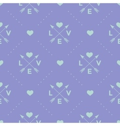 Seamless turquoise pattern with arrow heart and vector image
