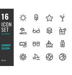 set 16 icons summer season thin line style vector image