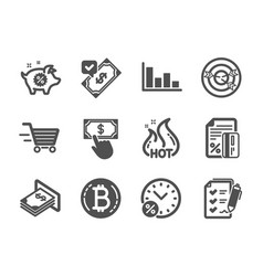 Set finance icons such as targeting loan vector