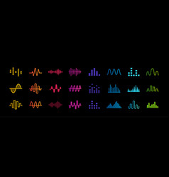 Set music equalizer icons sound waves lines vector