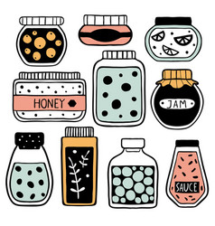 set of colorful doodle jars vector image