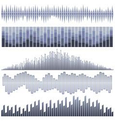 set of dark blue sound waves vector image