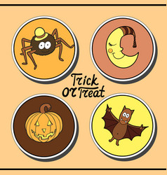Set of halloween characters spider in hat smiling vector