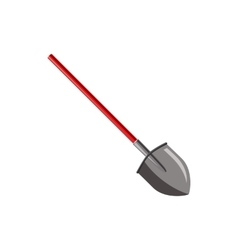 Shovel with red handle icon cartoon style vector