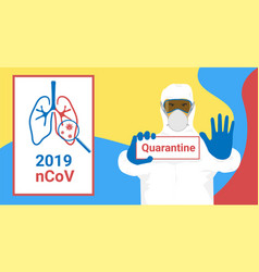 sign caution coronavirus ncov 2019 stop vector image