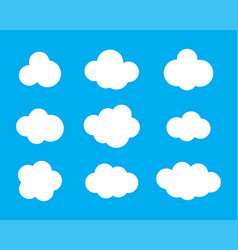 sky clouds silhouette cloud icon set vector image