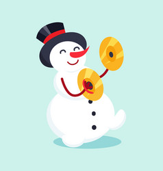 Snowman with drum cymbal musical instrument icon vector