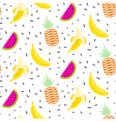 summer fruit pattern with bananas pineapples and vector image