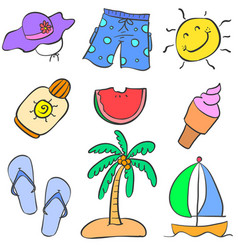Summer object doodles vector